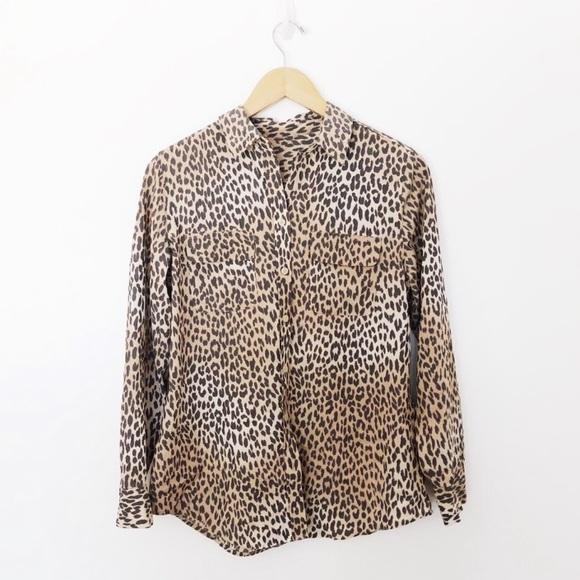 Vintage Leopard Print Button Down Shirt SzL